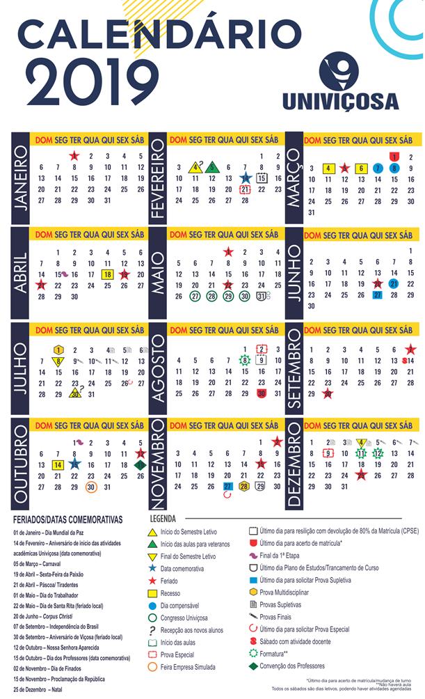 Calendário letivo graduação