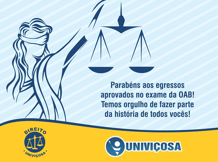 A Univiçosa, especialmente o curso de Direito, parabeniza todos os seus alunos por mais essa vitória