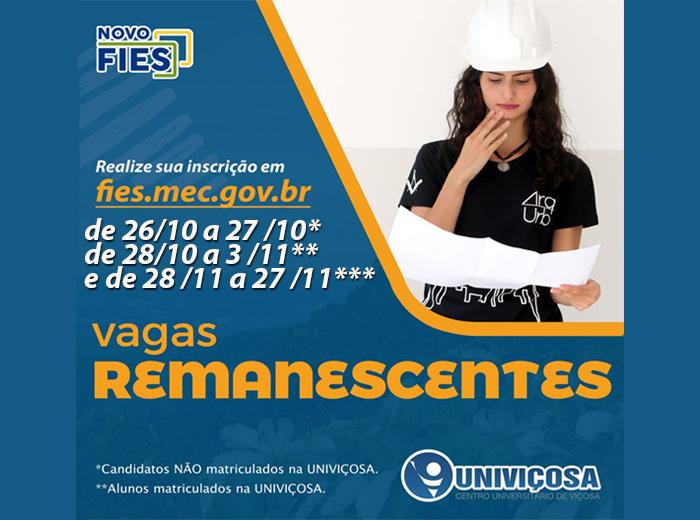 Atenção: podem se inscrever candidatos que almejam estudar na UNIVIÇOSA ou alunos já matriculados na Instituição. Se atentem aos prazos para não perder nenhuma data.