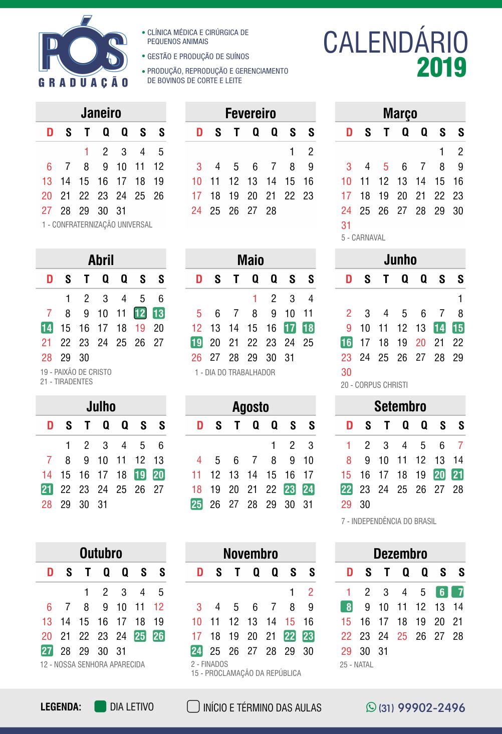 Calendário atual A